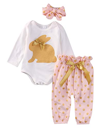 Geagodelia Babykleidung Set Ostern Kaninchen Baby Jungen Mädchen Kleidung Outfit Ostergeschenke für Kinder Body Strampler + Hose Neugeborene Weiche Easter Babyset (6-9 Monate, Pink 506 - Langarm)