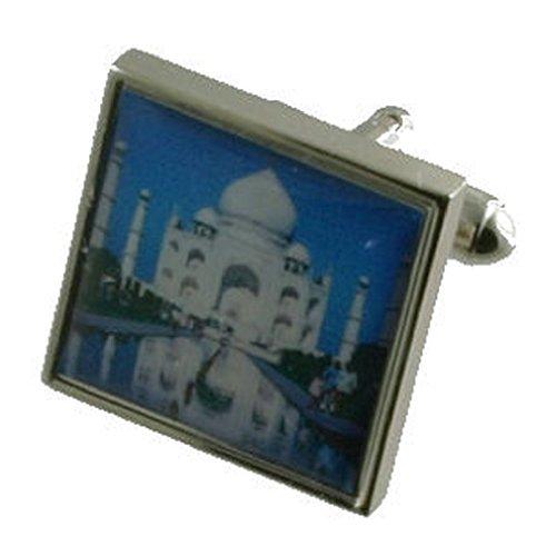 Inde Taj Mahal Boutons de manchette pour homme en argent sterling 925 massif Boutons de manchette + Boîte de message gravé personnalisé
