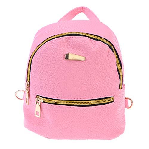 OULII Mini zaino in pelle con chiusura lampo, da donna, alla moda, piccolo zaino per la scuola, per ragazze (rosa)