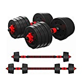 Tespon Adjustable Dumbbells Barbell 2 in 1 with Connector, Adjustable Dumbbell Barbell Sets 66lbs, Lifting Dumbells for Body Workout Home Gym(2020 Upgrade,One Pair)