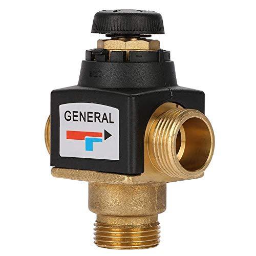 Válvula mezcladora termostática, válvula mezcladora termostática de latón con rosca macho de 3 vías DN20 G Temperatura del agua Tubería Cuenca Termostato para calentador de agua solar