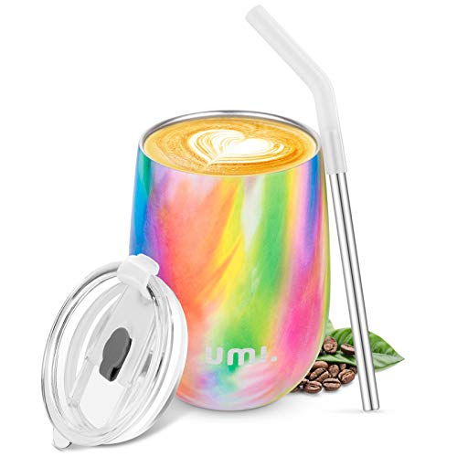 Umi. by Amazon -Termo Taza Cafe para Llevar 360ml, Botella Agua Acero Inoxidable, Botella Térmica sin BPA, Vaso Termico de Viaje, Copa de Vino o Café con Tapa y Pajilla, Wine Tumbler, Flamenco