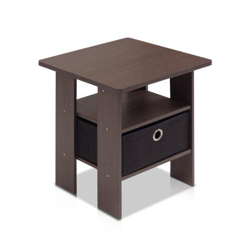 Furinno 11157DBR/BK End Table Bedroom Night Stand w/Bin Drawer, Dark Brown/Black