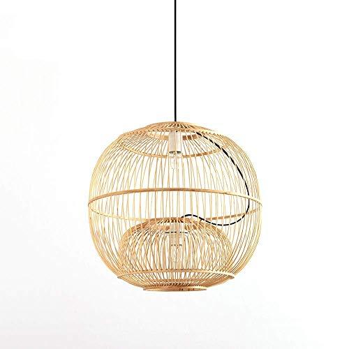 XCY Iluminación Decorativa, Lámpara de Araña Redonda de Estilo Chino Luces Colgantes de Mimbre de Bambú Tejidas a Mano Creativas Lámparas E27 con Dos Portalámparas Pantalla Decorativa Hueca con un Di