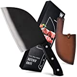XYJ Kitchen Knife Camping Knife Full Tang Butcher Knife 3cr13 Stainless Steel Serbian Chef Knife Meat Vegetable Cleaver Leather Sheath with Belt Loop Easy Carry