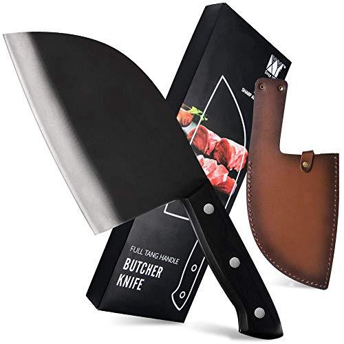 XYJ Chef Metzger Messer 7 Zoll Full Tang Fleischbeil Gemüsehacker Küchenmesser Serbisches Messer mit Lederscheide Box