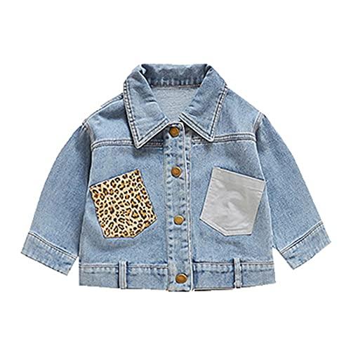 Moda Niñas Primavera Otoño Denim Chaqueta Leopard Print Coat Baby Cartoon Jean Chaquetas Niños Abrigos Niños Ropa