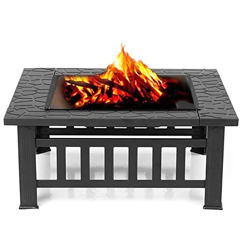 VEDKYY Fire Pits Bowls for Garden Patio with Grill Bbq Cover 80 Cm Large Cast Iron Wood Burning Log Burner Outdoor, Firepits And Firebowls Chimeneas Heater Tripod Brazier with Guard Lid for Outside