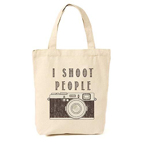 Tragetasche, Motiv I Shoot People Kamera, Leinen, Geschenkidee für Fotografen