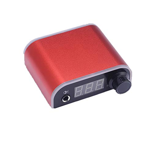 Mini fuente de alimentación para tatuajes, fuente de alimentación ligera para tatuajes de arco iris, con pantalla LCD digital, para tatuaje ametralladora pluma 18 V, 2A (Red)