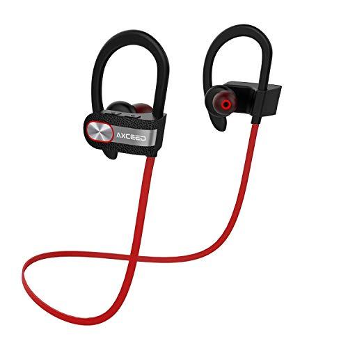 Kabellose Kopfhörer Bluetooth 4.1Sport Kopfhörer IPX4Schweiß-in-Ear mit Mikrofon axceed in-Ear Fernbedienung 8Stunden Spieldauer rot