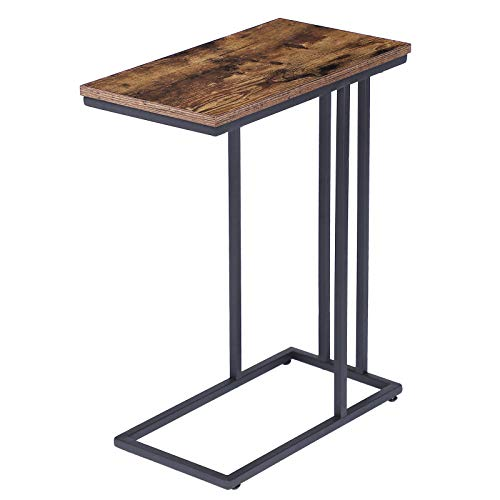 HOOBRO End Table, Sofa Side Table, Snack Table for Living Room, Bedroom, Easy Assembly, Space Saving, Wood Look Accent Furniture with Metal Frame, Rustic Brown EBF02SF01