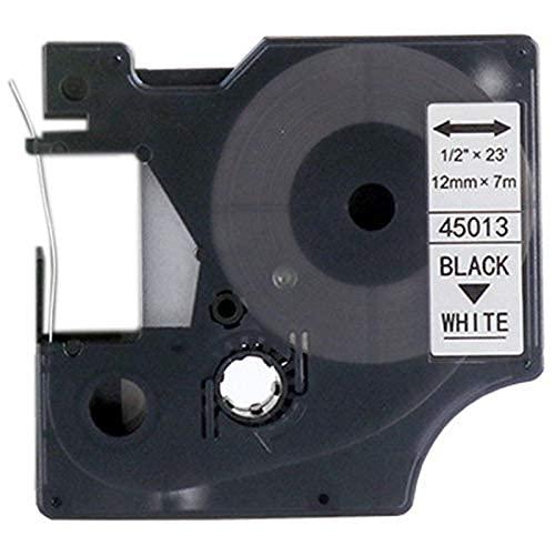 Nuevos Accesorios de Impresora Ajuste Compatible with 10 Piezas para DYMO D1 45013 D145013 Negro sobre Blanco Ajuste Compatible with 12Mmx7M para impresoras de Etiquetas DYMO Ltera (Color: Negro)