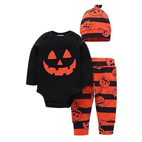 ZBBYMX 3 Stks Halloween Kostuum Baby Sets Kinderen Jongens Meisjes Katoen Halloween Hoed Pak