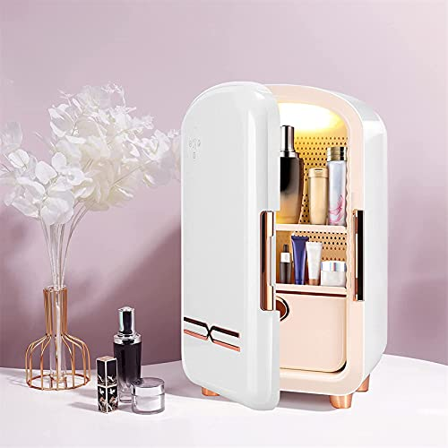 LLDKA 12L Mini Maquillaje Belleza Refrigerador Belleza Portátil Alimento para la Belleza Cuidado de la Piel en casa Refrigerador cosmético,Blanco