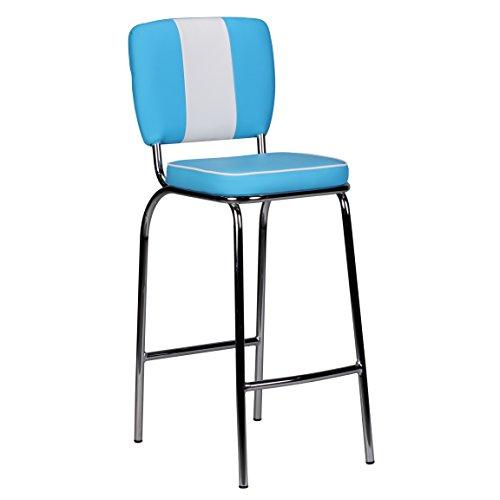 Wohnling Barhocker American Diner 50er Jahre Retro Barstuhl, Sitzfläche gepolstert mit Rücken-Lehne, Thekenstuhl mit Fußstütze, Sitzhöhe 76 cm, blau weiß