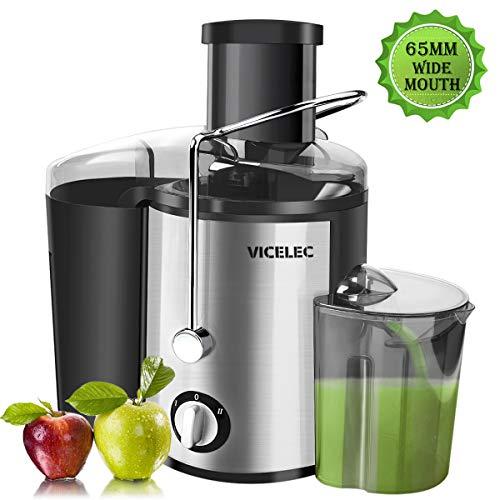 Entsafter für Obst und Gemüse aus Edelstahl, VICELEC 600W Zentrifugaler Entsafter mit 65MM Breiter Mund, 2 Geschwindigkeiten Edelstahl-Entsafter mit Rutschfeste Füße, BPA-Frei