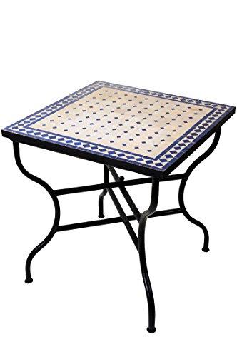 ORIGINAL Marokkanischer Mosaiktisch Gartentisch 70x70cm Groß eckig klappbar | Eckiger klappbarer Mosaik Esstisch Mediterran | als Klapptisch für Balkon oder Garten | Marrakesch Natur Blau 70x70cm