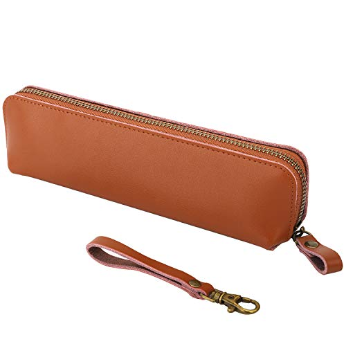 MoKo Pencil Case Holder Fit with i-Pencil 1st/i-Pencil 2nd,Genuine Leather Pencil Pouch Fit iPad 10.2 2019/iPad Air(3rd Gen) 10.5'/iPad Mini(5th Gen) 7.9',iPad Pro 11/12.9 2020/2018 - Brown
