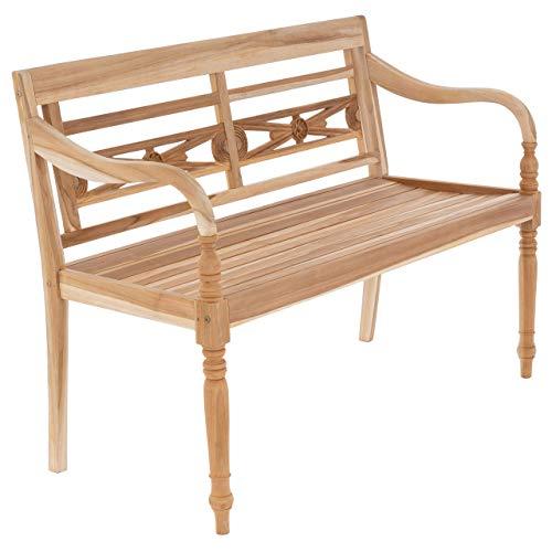 DIVERO stabile antike Gartenbank 2-Sitzer aus Teak-Holz naturbelassen massiv Handarbeit mit Schnitzereien Bank für Terrasse Garten Balkon 120 cm Natur White wash wählbar (Natur)