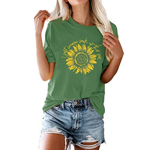 T-Shirt Damen Kurzarm Rundhals Basic T-Shirt Oberteile Sonnenblume Letter Drucken Tops Modisch Casual Summer top Lose Bequemer Breathable Streetwear Shirt Sport Shirt M