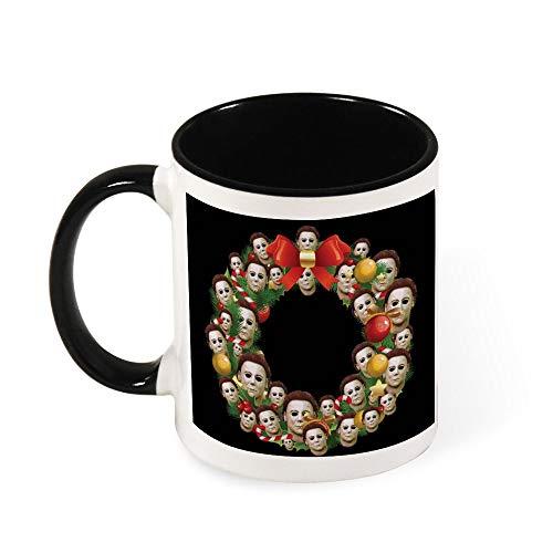 Michael Myers Kaffeetasse mit Halloween-Motiv, Weihnachtskranz, Keramik, Geschenk für Frauen, Mädchen, Ehefrau, Mutter, Großmutter, 325 ml