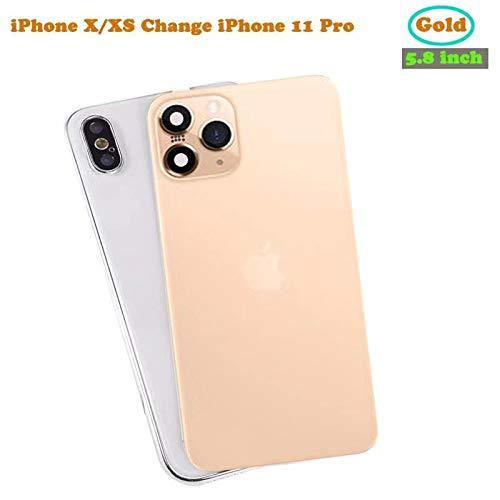 FTYSXP Veranderde cameralens in enkele seconden beschermhoes voor iPhone XS/Max veranderen naar iPhone 11 Pro/Max Geïntegreerde beschermfilm voor de achterkant van de nep-lens, Champagne goud 5,8 in