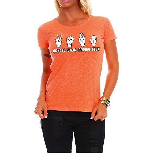 Frauen und Damen T-Shirt Schere Stein Papier Flex Größe XS - 5XL