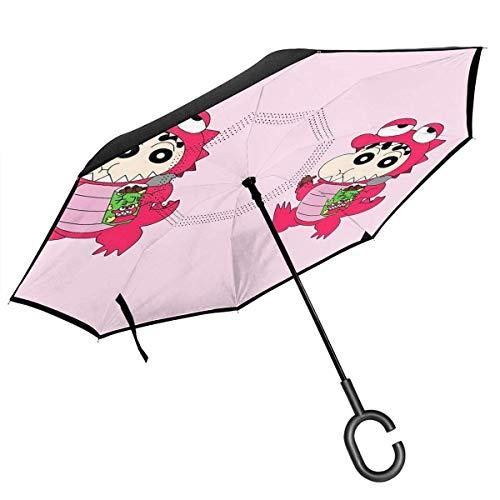 Umgekehrter Regenschirm Schöner Wachsmalstift Shin-chan Umkehrklappbarer Regenschirm Winddichter UV-Schutz Großer gerader Regenschirm für Autoregen im Freien mit C-förmigem Griff