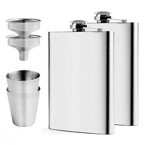 Sinzau 2 Packs 8oz 227ml Hip Flask Set, 304 Stainless Steel flasks with 2...
