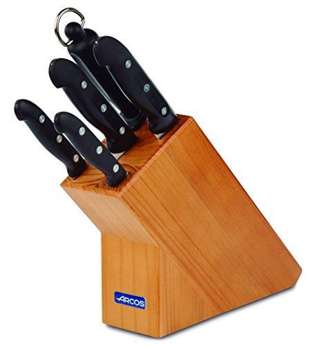Arcos Maitre - Juego de Cuchillos 5 piezas (4 Cuchillos de Cocina + 1 Chaira para afilar cuchillos) - Acero Inoxidable NITRUM - Mango Polipropileno - Bloque madera marrón
