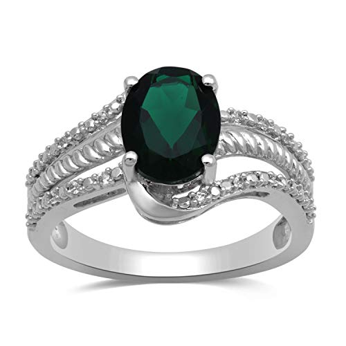 Jewelili Sterling Silver 9x7mm Oval Created Emerald and Round Created White Sapphire Halo Ring, Size 7
