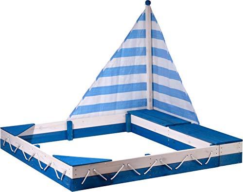 Sandkastenschiff Maritim mit Segel und Zwei Spielzeugkisten, 138,5 x 124 x 115,5 cm, Blau/Weiß