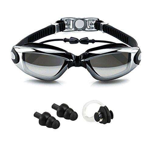 Schwimmbrille mit Ohrstöpsel kein Auslaufen Anti Nebel UV-Schutz Verstellbarer Riemen Schwarz–Schwimmbrille + Fall + Nase Clip + Ear Plugs