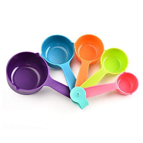 LPxdywlk 5 Piezas De Plástico Tazas De Medir Cuchara Cuchara De Cocina Herramienta De Cocina para Hornear Conjunto De Utensilios Color Aleatorio
