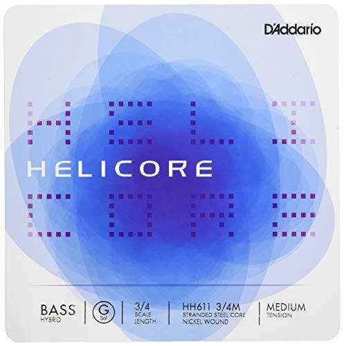 Cuerda individual Sol para contrabajo Helicore de D'Addario, serie híbrida, escala 3/4, tensión media.
