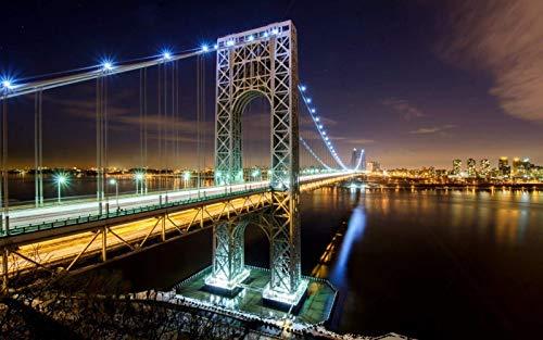 Washington Bridge Pattern Under Night Lights 1000 piezas de rompecabezas, juguetes educativos para niños, juegos de padres e hijos, juegos de desarrollo intelectual