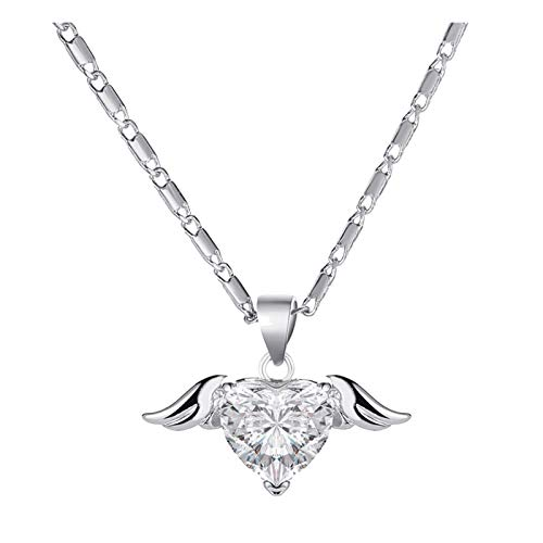 Janly Clearance Sale Women Necklaces & Pendants , Vintage Metallic Golden Wing Love Angel Chain Lock Necklace Women's Jewelry , Valentine's Day Birthday Jewelry Gifts for Ladies Girls (Silver)