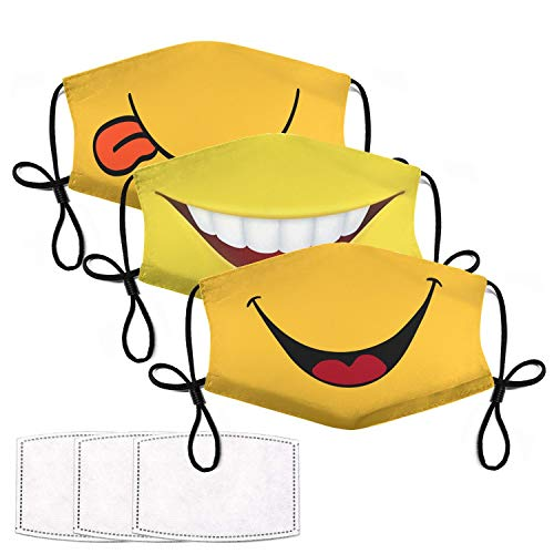 3Pcs Smiley Face Mask with 6 Filters Smile Face Cover for Adults Breathable Washable Reusable Smiling Mouth Cover