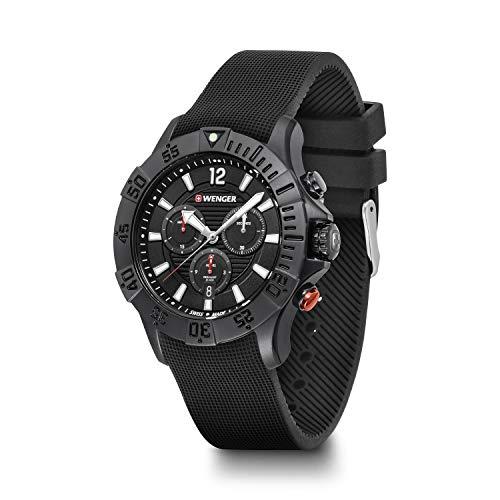 Wenger, Seaforce Chrono 43mm, PVD, Esfera Negra, Reloj con Correa de Goma para Hombre