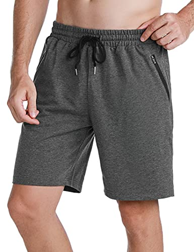 Wayleb Pantaloncini Sportivi da Uomo in 100% Cotone Sportivi Shorts Leggero Pantaloncini da Corsa Uomo con Tasca con Cerniera, M+Grigio Scuro