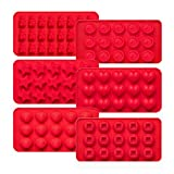 Kootek 6 Pieces Silicone Chocolate Molds, Reusable 90 Cavity Candy Making Mold Ice Cube Tr...