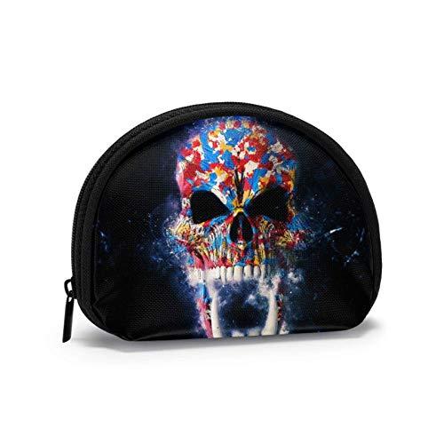 Cráneo Colorido con Dientes Corgi Lindo con Gafas de Sol Monedero Monedero Bolsa de Cambio Monedero Bolsa para lápiz Labial con Llave d