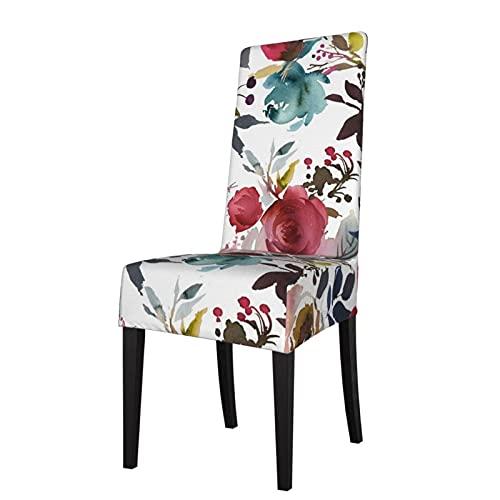 Fundas para sillas de color rojo, boho, borgoña, verde azulado, femenino, floral, acuarela, elástica, súper comedor, funda protectora de asiento, fundas de asiento para silla de comedor extraíble