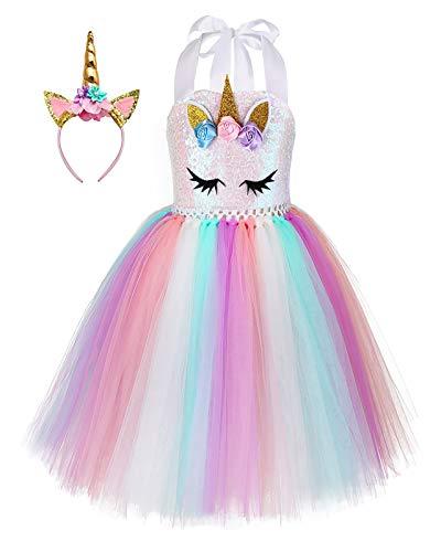 Unicorn Costume For Girls Dress Up Clothes For Little Girls Rainbow Unicorn Tutu With Headband Birthday Gift