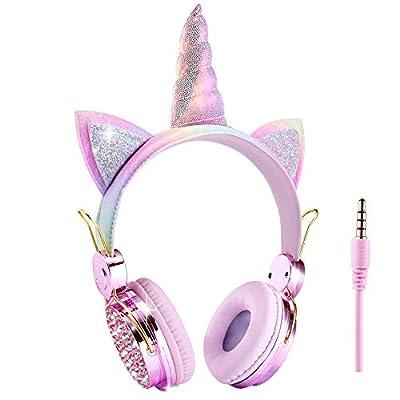 Kids Headphones Unicorn,Sparkly Rainbow Girls Boys Headphones with Microphone for School/Christmas/Birthday Gifts/Home/Travel (Rainbow Unicorn) by Koraba