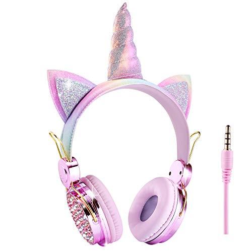 Cuffie per bambini Unicorno, Cuffie cablate per orecchie da gatto con microfono per scuola/Natale/Regali di compleanno/Casa/Viaggi (Unicorno Arcobaleno)