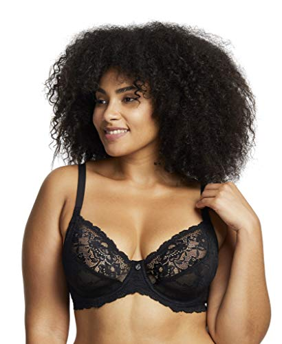 Montelle Women's Divine Underwire Full Cup Coverage Stretch Floral Lace Bra, Black, 38D