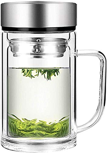 Office Glass Infuser Bottle Tea Tumbler Double Wall Glass Borosilicate Bottle Travel Mug Leakproof Tea Bottle with Strainer Carry Handle For Loose Leaf TeaWater 13 OZ/380ML