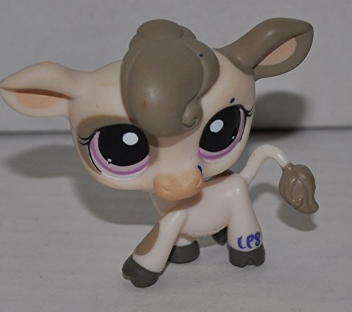 Littlest Pet Shop Cow #1351 (Tan, Purple Eyes, Brown Hair) (Retired) Collector Toy - LPS Collectible Replacement Single Figure - Loose (OOP Out of Package & Print)
